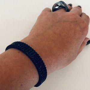 Swarovski Black Leather & Crystal Golf Bracelet